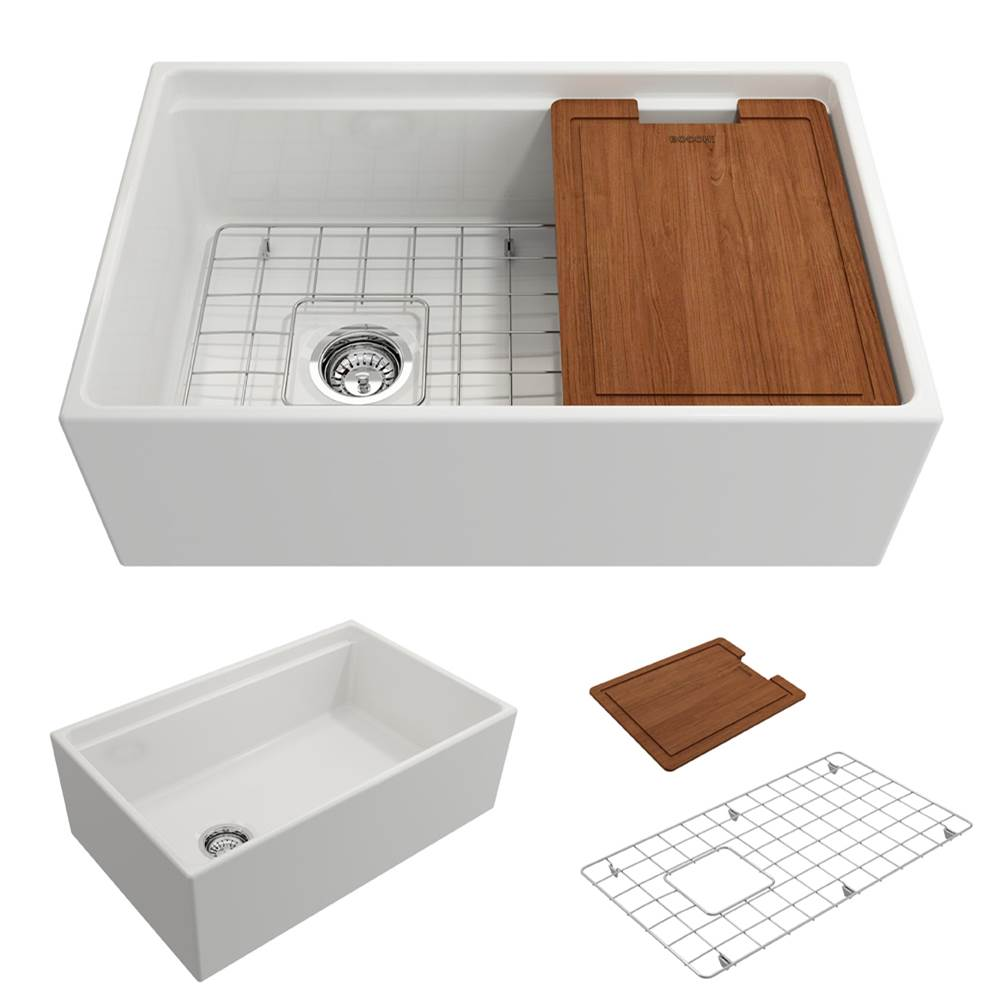 Bocchi Contempo Apron Front Step Rim with Integrated Work Station Fireclay 30 in. Single Bowl Kitchen Sink with Accessories in White