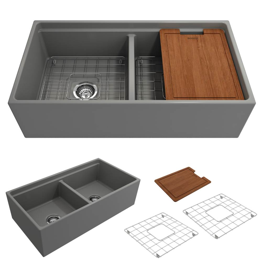Bocchi Contempo Apron Front Step Rim with Integrated Work Station Fireclay 36 in. Double Bowl Kitchen Sink with Accessories in Matte Gray