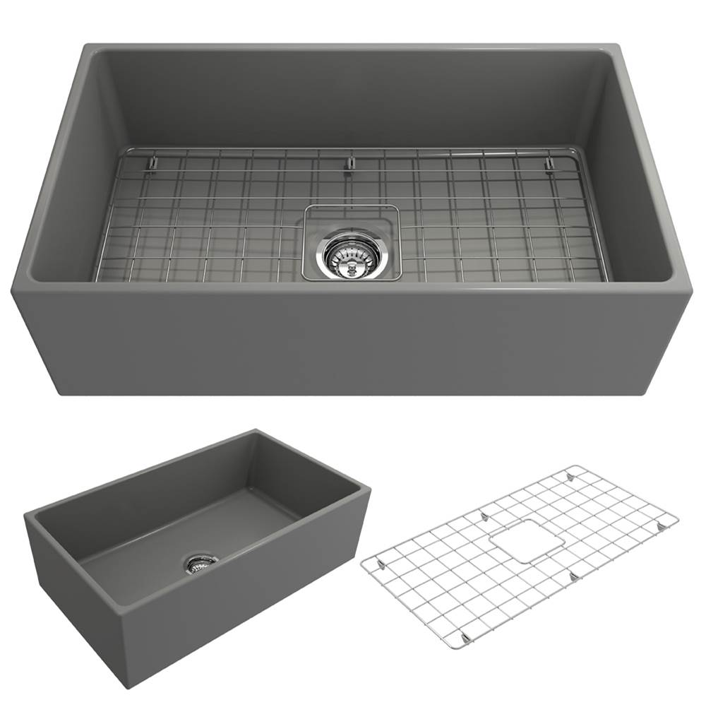 Bocchi Contempo Apron Front Fireclay 33 in. Single Bowl Kitchen Sink w/Grid and Strainer in Matte Gray