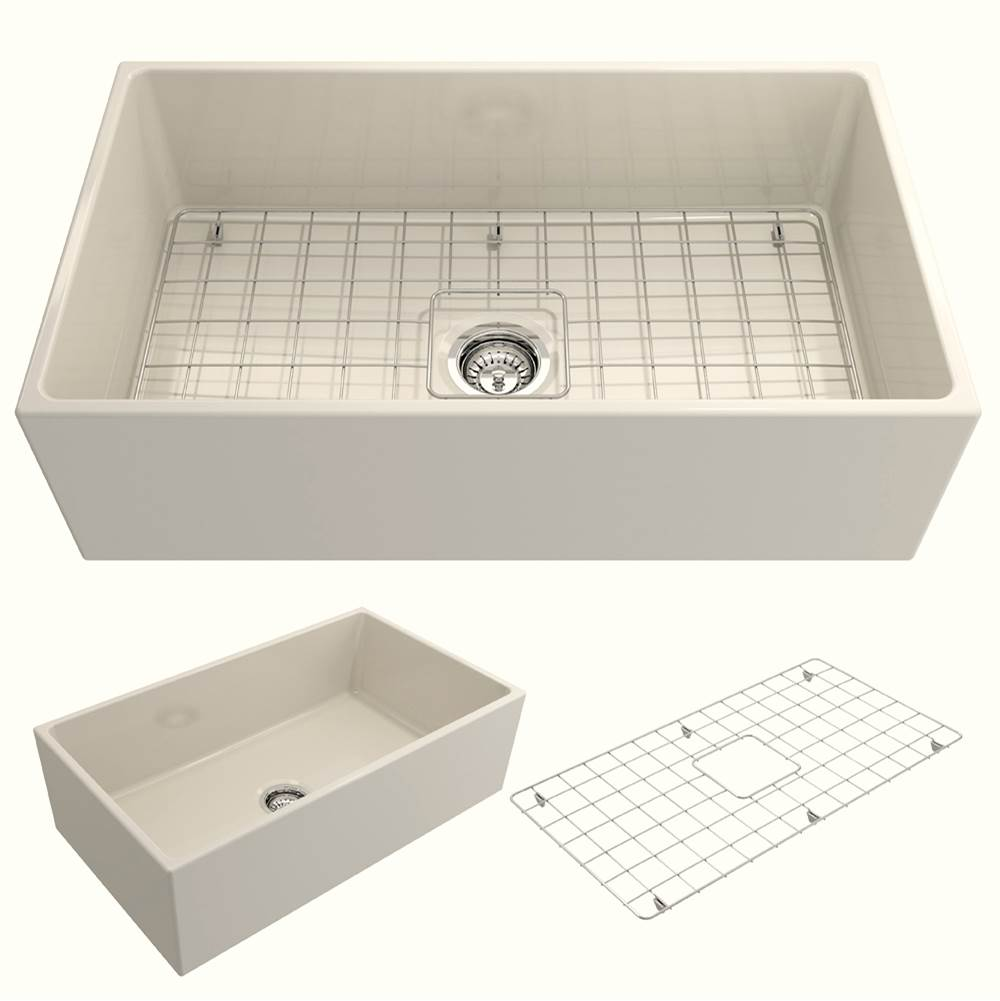 Bocchi Contempo Apron Front Fireclay 33 in. Single Bowl Kitchen Sink w/Grid and Strainer in Biscuit