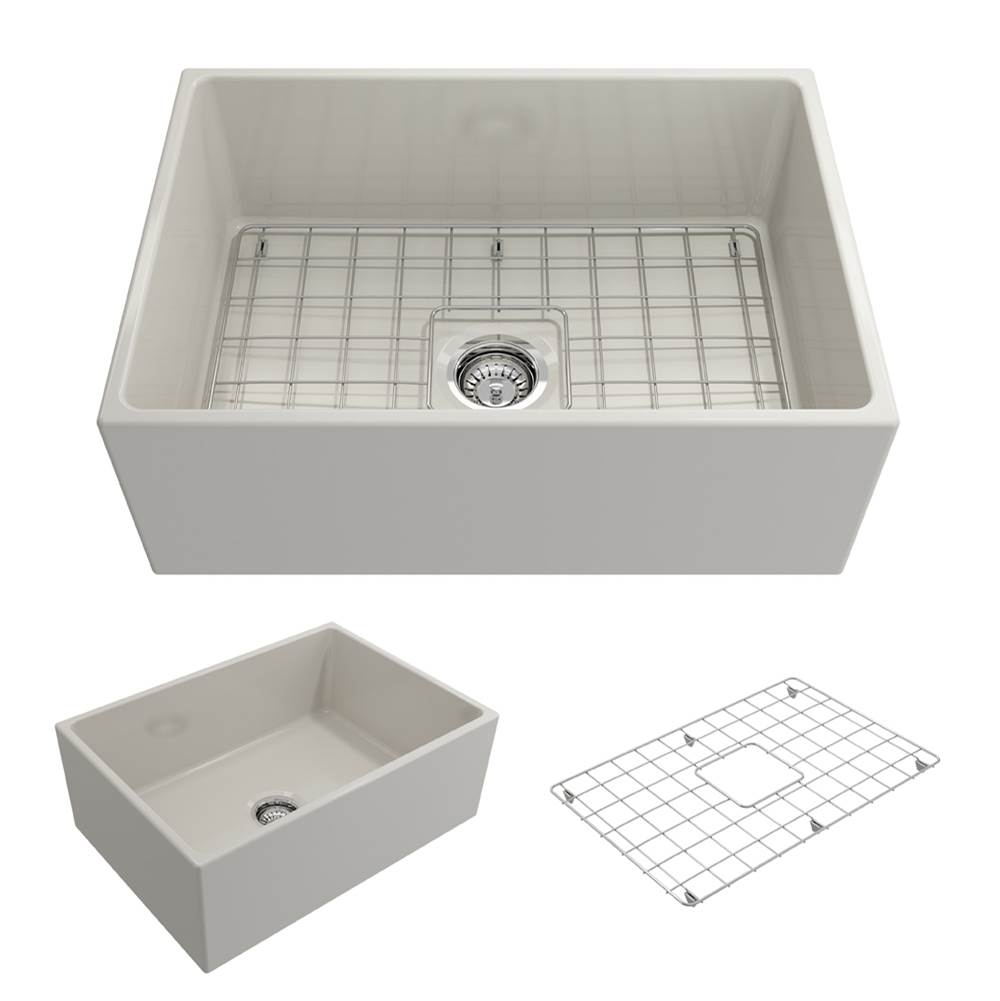 Bocchi Contempo Apron Front Fireclay 27 in. Single Bowl Kitchen Sink w/Grid and Strainer in Biscuit