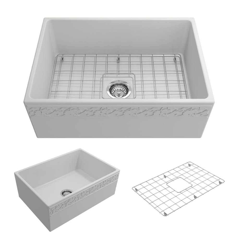 Bocchi Vigneto Apron Front Fireclay 27 in. Single Bowl Kitchen Sink w/Grid and Strainer in Matte White