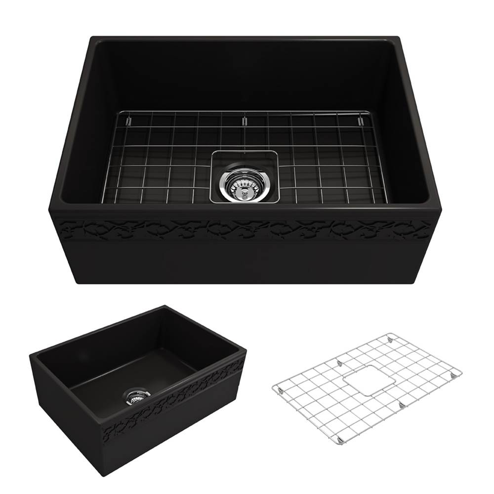 Bocchi Vigneto Apron Front Fireclay 27 in. Single Bowl Kitchen Sink w/Grid and Strainer in Matte Black