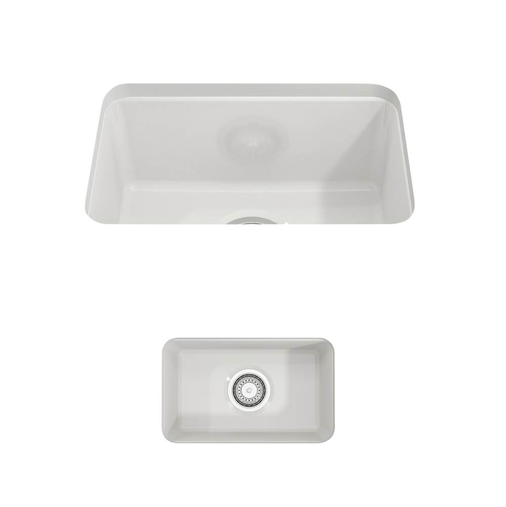 Bocchi Sotto Undermount Fireclay 12 in. Single Bowl Kitchen Sink with Strainer in White