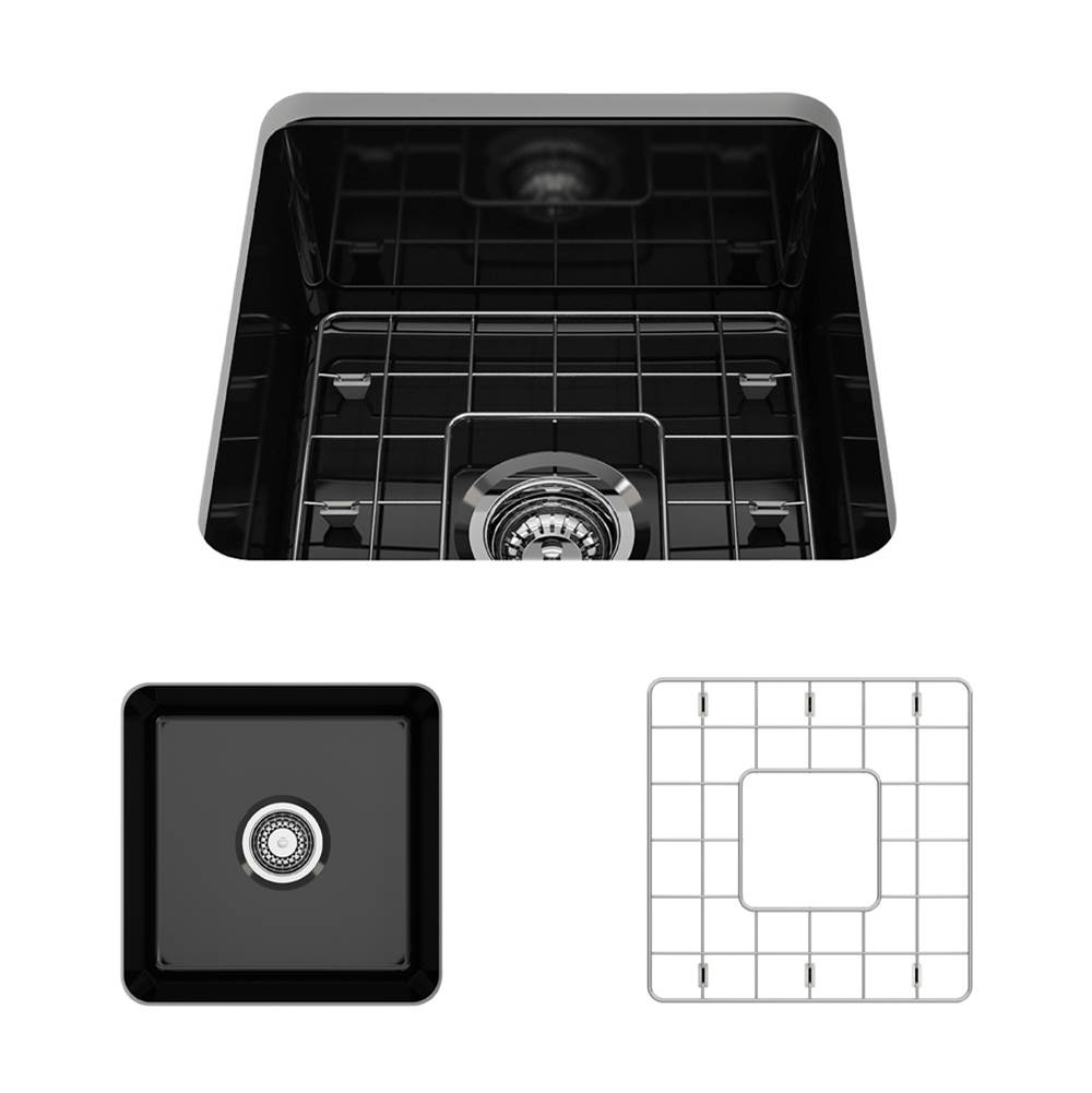 Bocchi Sotto Undermount Fireclay 18 in. Single Bowl Kitchen Sink w/Grid and Strainer in Black