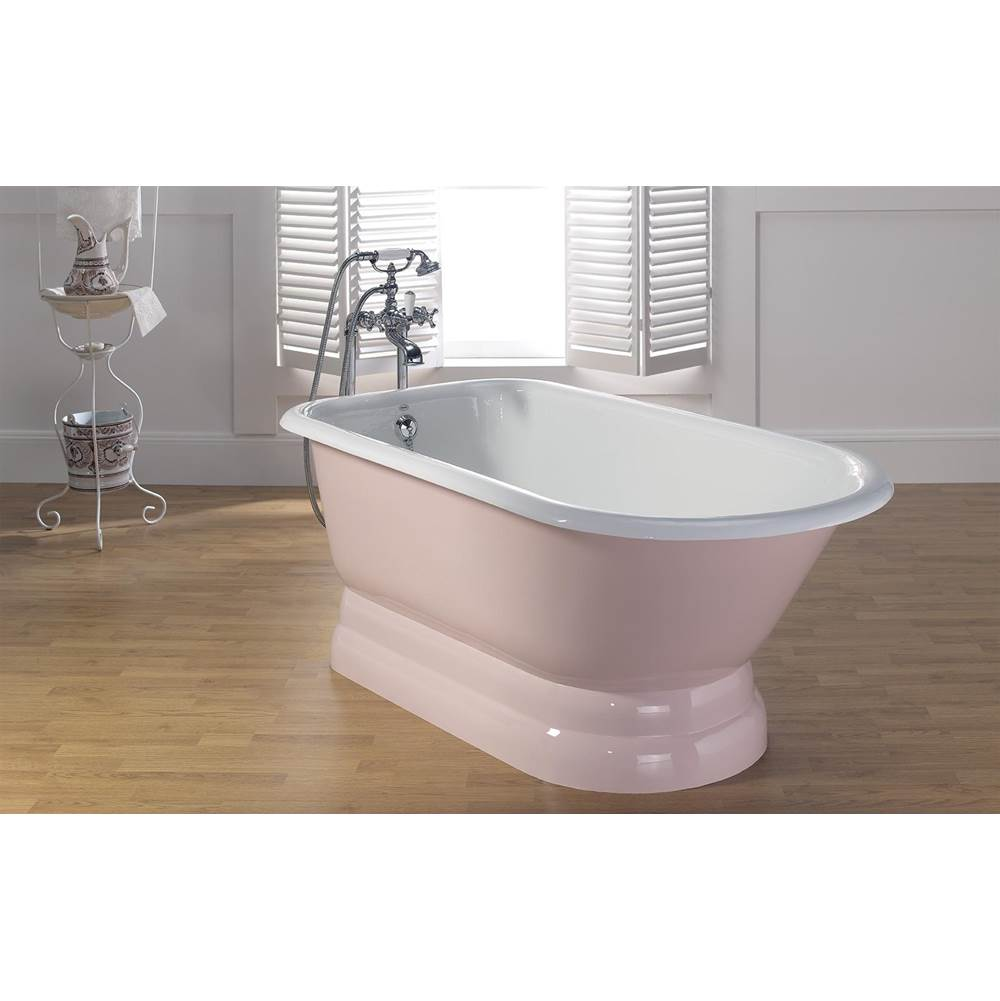 Cheviot Products TRADITIONAL Cast Iron Bathtub with Pedestal Base and Faucet Holes in Wall of Tub