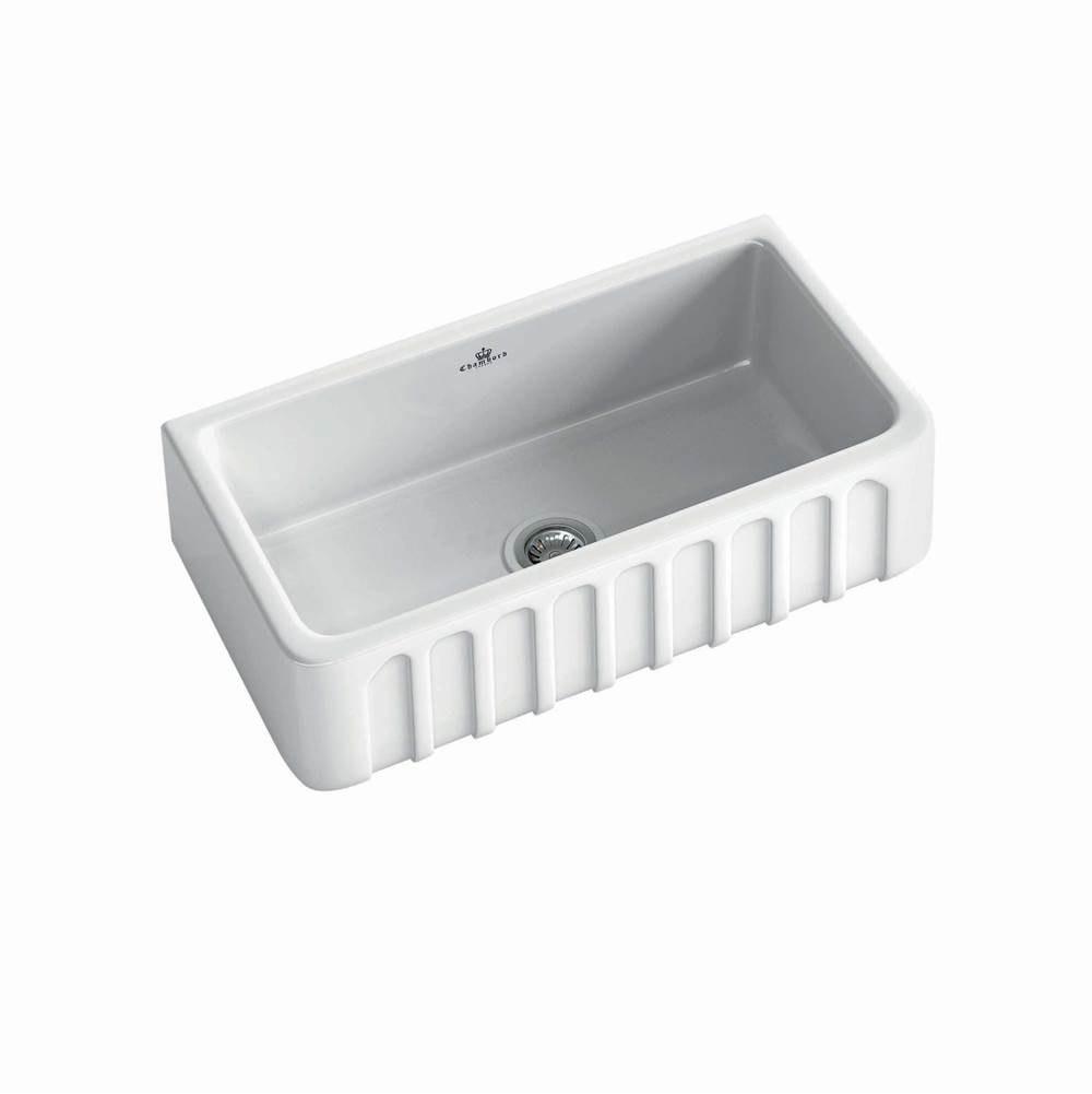Chambord Single Bowl Fireclay Sink with a Fluted Façade