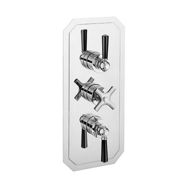 Crosswater London Waldorf 2000 Thermostatic Valve Trim with Two Integrated Volume Controls and Black Lever Handles
