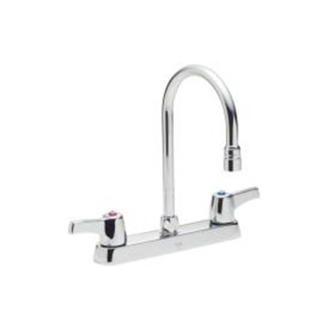Delta Commercial Commercial 26C3: Two Handle 8'' Cast Deck Mount Faucet