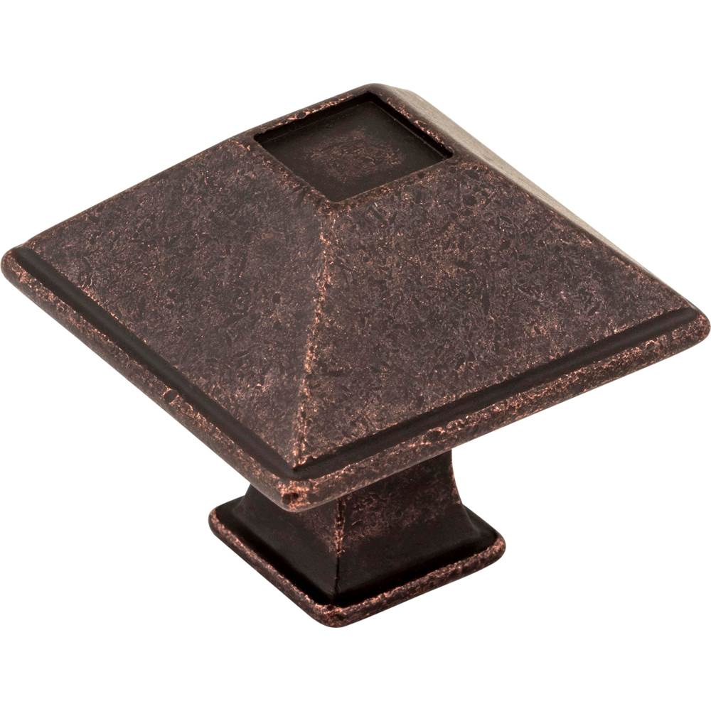 Jeffrey Alexander 1-1/4'' Overall Length Distressed Oil Rubbed Bronze Square Tahoe Cabinet Knob