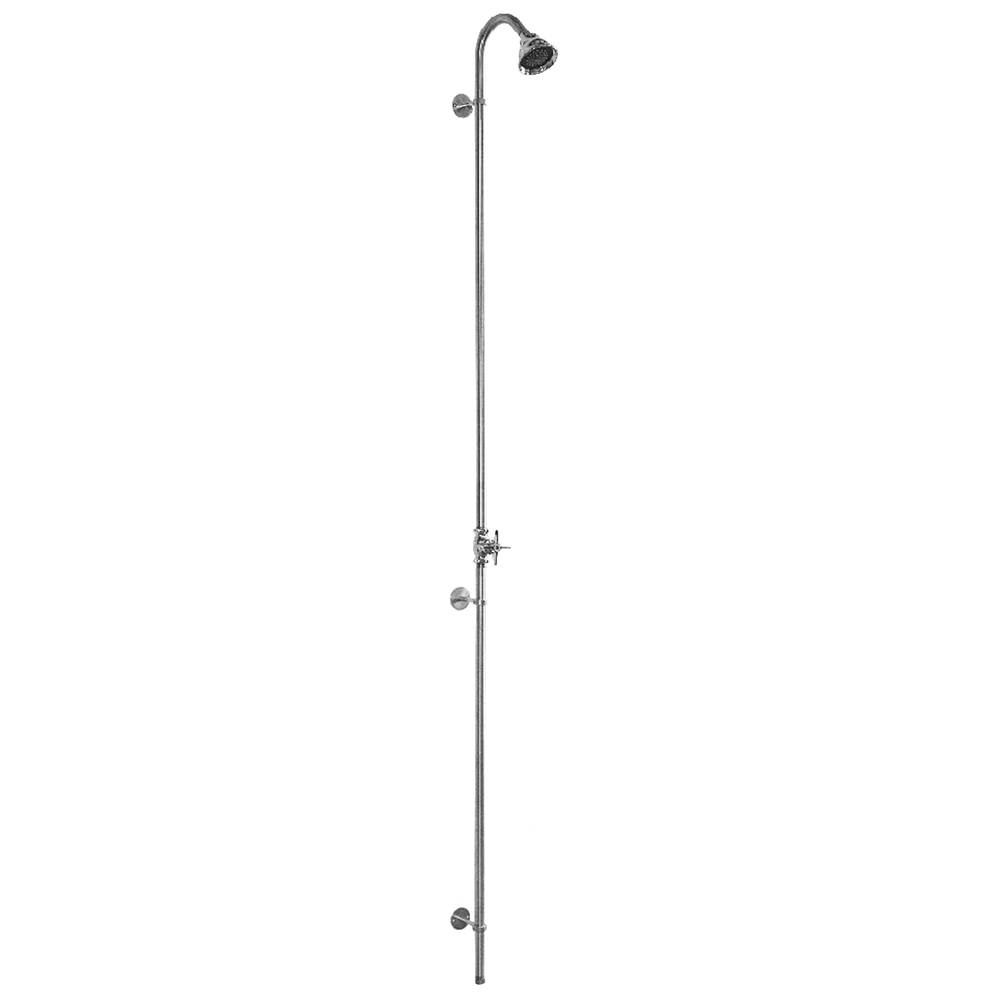 Outdoor Shower Wall Mount Single Supply Shower - Cross Handle Valve, 3'' Shower Head