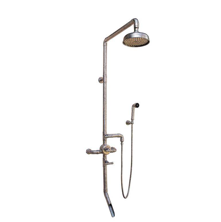 Sonoma Forge Waterbridge Exposed Thermostatic Shower Systems Model 980 (10-3/4'' Spread, Center To Center) With 8'' Rainhead, Handshower & Tub Filler