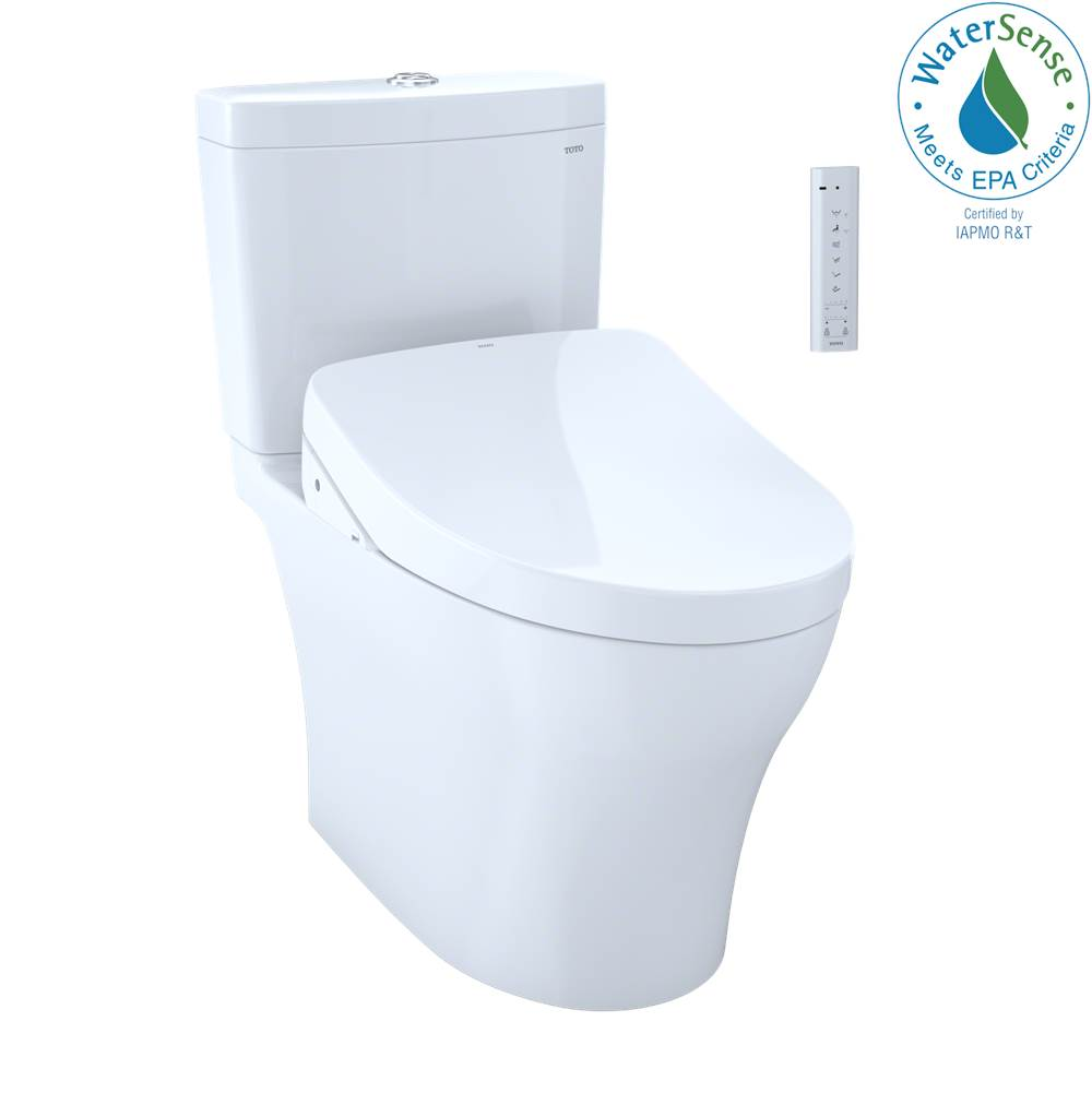 Toto TOTO WASHLET® plus Aquia IV 1G® Two-Piece Elongated Dual Flush 1.0 and 0.8 GPF Toilet with Auto Flush S550e Bidet Seat, Cotton White