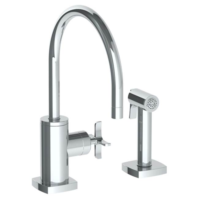 Watermark H-Line Deck Mount 2 Hole Kitchen Faucet w/ Side Spray